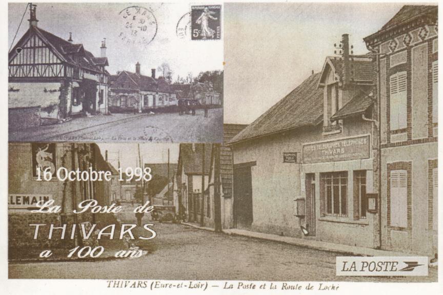 Carte postale commémorative des 100ans de la poste de thivars